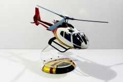 Helicopter custom spray paint white, red, black & yellow (1)